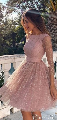 Sleeves Short Prom Dress Pink Homecoming Dress with Open - Homecoming Dresses Long Sleeve Homecoming Dresses, Hoco Dresses, Mini Dresses, Sexy Dresses, Wedding Dresses, Summer Dresses, Wedding Bride, Sparkly Homecoming Dresses, Short Elegant Dresses