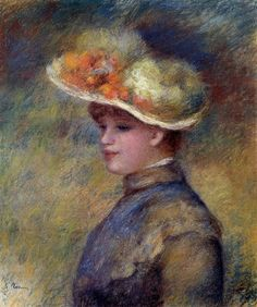 Young Woman Wearing a Hat. Пьер Огюст Ренуар