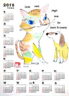 ニャンコとワンちゃん2018年戌年 猫のカレンダー ねこみち 中尾道也Year of the Dog 2018 Cat Calendar by Michiya Nakao Cat Calendar, 2 Best Friends, Cat Art, My Works, Dog Cat, Japanese, Cats, Products, Gatos
