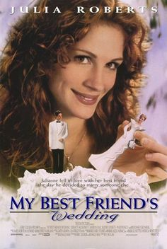 'My Best Friend's Wedding', a 1997 romantic comedy film starring Julia Roberts as Julianne Potter), Cameron Diaz (Kimmy Wallace), Dermot Mulroney (Michael O'Neal), Rupert Everett (George Downs), & Philip Bosco (Walter Wallace).  Julianne sets out to sabotage Michael, her best friend, & Kimmy's wedding when she things she may be in love with Michael.
