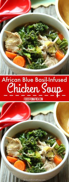 African Blue Basil-Infused Chicken Soup. Afro-fusion food blog | African recipes | African food blog.