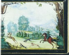 """another allegorical Hunt of Love -- this one painted into the album of Anton Erich Rentsch [entries 1615-47]. This is Det Kongelige Bibliotek, Copenhagen, MS Thott 432, 8o, image 527 on the Library's website  Derives from the """"Speculum Cornelianum"""" (Strasbourg, 1618) print adjacent."""