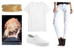 White pants, white shirt, white shoes, gold bracelets, messy bun