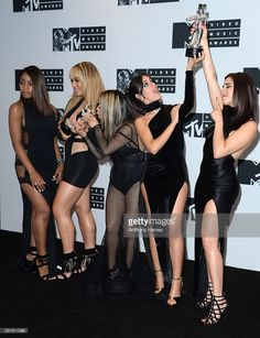 Normandi Kordei, Dinah Jane Hansen, Ally Brooke, Camila Cabello and Lauren Jauregui of Fifth Harmony attend the Press Room at the 2016 MTV Video Music Awards at Madison Square Garden on August 28, 2016 in New York City.