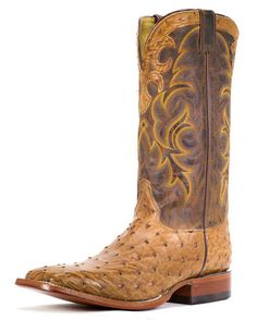 Men's Cognac Vintage Full Quill Ostrich Boot - 8513