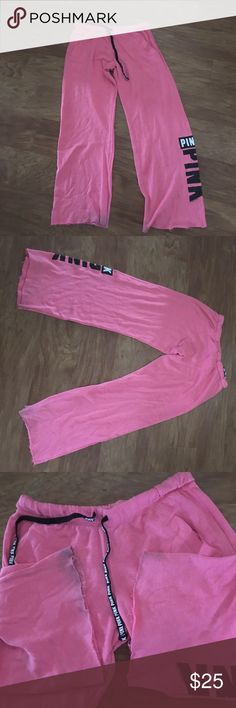 Victoria secrets sweatpants Washed twice in my desperate attempt of shrinking them . It did work. Have some d discoloration on the bottom in r at they are perfect . Victoria's Secret Pants