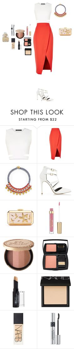 """""""M"""" by butnotperfect ❤ liked on Polyvore featuring BCBGMAXAZRIA, C/MEO COLLECTIVE, Tory Burch, Miss Selfridge, Oscar de la Renta, Too Faced Cosmetics, Lancôme, Revlon, NARS Cosmetics and Christian Dior"""