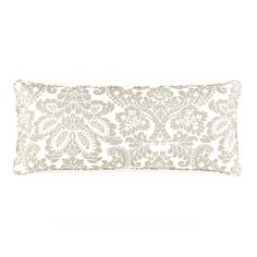 Pine Cone Hill | Imperial Damask Platinum Decorative Pillow | Give your bed the royal treatment with this substantial-weight cotton decorative pillow in three cool color combos. Featherdown insert included.  98