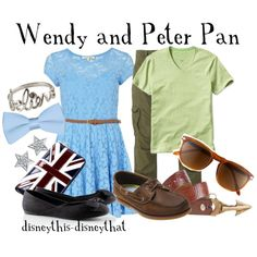 Wendy and Peter Pan, created by disneythis-disneythat on Polyvore. Love Wendy's dress.