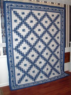 Blue Irish Chain quilt top.  I love blue and white quilts.  Peace, Robert from nancysfabrics.com