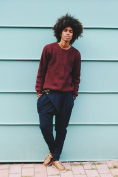 Burgundy sweater, glimpses of yellow t-shirt underneath Funky trousers. Pinterest:@keraavlon - #Mens #Fashion: #Bohemnian