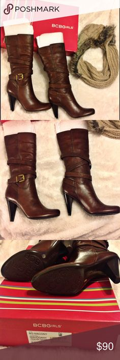 """🎉HOST PICK🎉BCBGirls Mahogany Leather Boots Sz9.5 🎉HOST PICK ~ HOLIDAY STYLE PARTY🎉 💕NIB GORGEOUS BCBGirls Macony Mahogany Frontier Leather Boots. Genuine Leather, Adjustable straps, Rubber sole, Cone heel, Heel height: 4"""", Made in Brazil. NEW WITH BOX, Never been worn. 💕 BCBGirls Shoes Heeled Boots"""