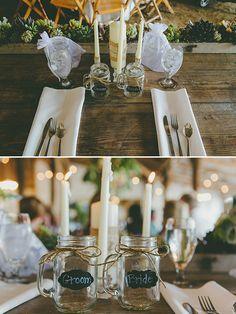 bride and groom mason jars @weddingchicks
