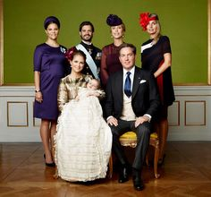 Princess Madeleine of Sweden, Christopher O'Neill, Princess Leonore, Duchess of Gotland & royal family at Prince Nicolas, Duke of Ångermanland christening...
