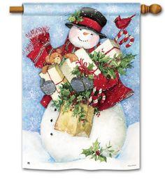 "myfarmhousemercantile store on Ebay Snowman with Gifts, Cardinal, Candy Canes 28""x40"" Christmas House Flag #BreezeArt"