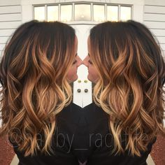 High contrast stretched root balayage ombre. Warm balayage. Fall haircolor   Hair by Rachel Fife @ Sara Fraraccio Salon in Akron, Ohio