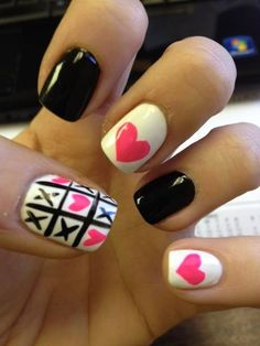 Valentine's Day, pink heart, nail polish, black