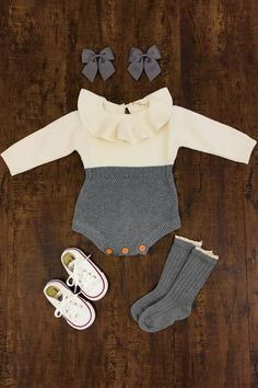Gray & Cream Knit Romper #BabyGirlFashion #babygirloutfits