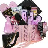 """This luxurious gift is """"Dressed to Impress"""" with stylish spa products and decadent gourmet treats! Pamper your diva with Lightly Scented Floral Bath and Body Shower Gel, Moisturizing Body Lotion, Exfoliating Body Scrub, Soothing Bath Crystals, Pink Rose Shaped Soaps, and Tealight Candles to make her personal spa bath time extra special."""