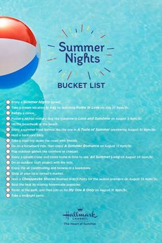 Hallmark Channel wants to make your Summer Nights memorable. Save this image and mark items off your Bucket List this summer! A new, original movie premieres every Saturday on Hallmark Channel. Vacation Days, Dream Vacations, Late Nights, Summer Nights, Chesapeake Shores, Jill Wagner, Lacey Chabert, Enjoy Summer, Hallmark Channel