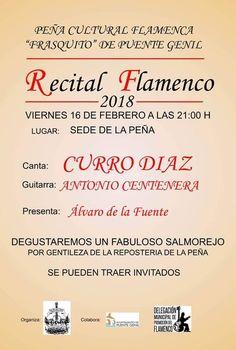 """``Recital Flamenco´´ el próximo 16 FEB a las 21:00h en la sede de la Peña Cultural Flamenca """"Frasquito"""" de Puente Genil Ayuntamiento de Puente Genil"""