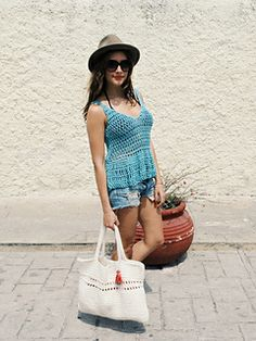 Cool looking summer tank top would be great for bikini cover up for those lunch trips while visiting the beach. Crochet Pattern on Ravelry