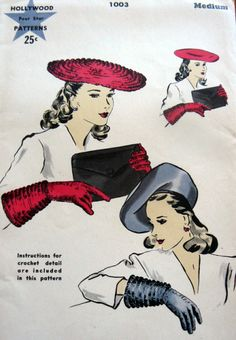 1940s  LARGE BERET HAT, GLOVES PATTERN ALSO CROCHET INSTRUCTIONS FOR GLOVES  HOLLYWOOD 1003