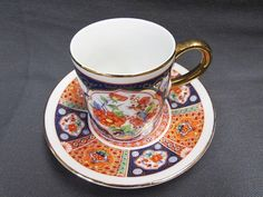 Vintage OMC Otagiri Japan Teacup and Saucer | Small Coffee Can Style Cup and Plate | Flowers and Birds Orange and Blue Cup and Saucer