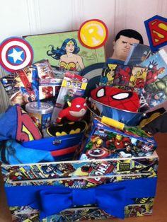 Super hero themed gift basket