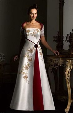 Bohemian Wedding Dress - Love This red and white wedding dress with gold accents. Bohemian Wedding Dress - Love This red and white wedding dress with gold accents. Aline Wedding Gowns, Chiffon Wedding Gowns, Red Wedding Dresses, Bridal Dresses, Red White Wedding Dress, Lace Wedding, Making A Wedding Dress, Red And White Weddings, Beautiful Gowns