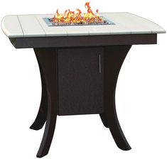 Amish Poly Modern Paradise Pub Table with Firepit Firepit fierce with eco friendly vibes, the Poly Modern Paradise Pub Table is made with poly. Gather, relax, dine and enjoy. #firepit #polyfirepits