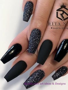 The most beautiful ideas for black winter nails - Coffin Nails - . - The most beautiful ideas for black winter nails – Coffin Nails – - Black Nails With Glitter, Black Acrylic Nails, Black Coffin Nails, Best Acrylic Nails, Pointy Nails, Cute Black Nails, Purple Glitter, Marble Nail Designs, Black Nail Designs