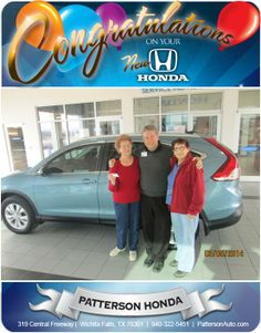 Congratulations to longtime customer, Eunice Webb from Seymour and her dear friend Jimmie Young! She purchased a new 2014 CR-V in Mountain Air Metallic! - From Steve Lax at Patterson Honda!
