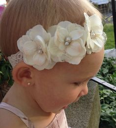 Items similar to Ivory Hydrangea Flower Baby Headband...Ivory Lace Baby  Headband...Triple Flower Ivory Infant Headband...Baptism Headband. 27ab3c3ae1a6