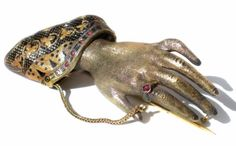 Victorian-14K-Gold-Hand-Brooch-Red-Stones-Champleve-Enameled-Antique-Jewelry