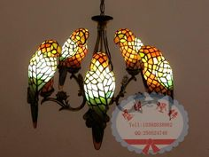 tiffany lamp - papegaaien