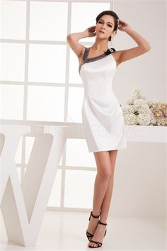 Robe de cocktail courte sexy noire/blanche décoration perlée en satin textile élastique