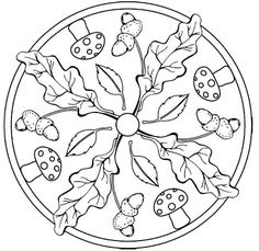 Mandala Tardor Coloring Page - Free Coloring Pages Online Mandala Coloring Pages, Coloring Book Pages, Painting Templates, Fall Crafts For Kids, Ink Illustrations, Mandala Pattern, Wool Applique, Dot Painting, Art Plastique