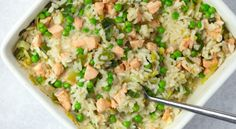 No-stir risotto with salmon, leek and peas - MyKitchen - Mas & Pas Salmon Risotto, Fish Recipes, Baby Food Recipes, Savoury Recipes, Healthy Recipes, Oven Baked Risotto, Dairy Free Diet, Risotto Recipes, Risotto