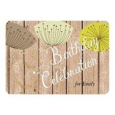 Dandelions on Wood Planks Custom Birthday Invite Invitation Design, Invite, Custom Birthday Invitations, Milestone Birthdays, Dandelions, Wood Planks, Birthday Parties, Personalized Birthday Invitations, Anniversary Parties