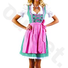 Dirndl Dress Green-Pink Ethnic 3 Piece Oktoberfest Bavarian Trachten... (€35) ❤ liked on Polyvore featuring black, dresses and women's clothing