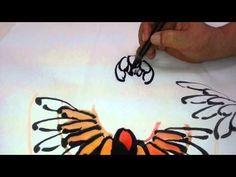 Korean painting (chrysanthemum),한국화(국화 그리기) - YouTube Painting Videos, Ink Painting, Fabric Painting, Chinese Brush, Chinese Art, Japanese Painting, Chinese Painting, India Ink, Watercolour Tutorials