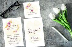 Vintage Floral Wedding Invitation set / Instagram di AYAKAstudio