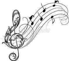 treble clef with music