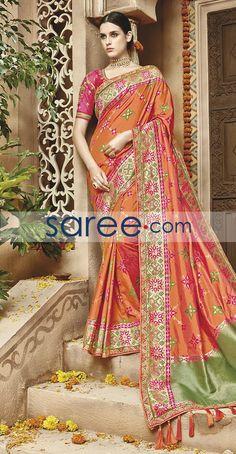 ORANGE KANJIVARAM SILK SAREE WITH EMBROIDERY WORK  #Saree #GeorgetteSarees #IndianSaree #Sarees  #SilkSarees #PartywearSarees #RegularwearSarees #officeWearSarees #WeddingSarees #BuyOnline #OnlieSarees #GeorgetteSarees #NetSarees #ChiffonSarees #DesignerSarees #SareeFashion