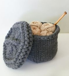 Knitting Pattern for Baskets With Lids