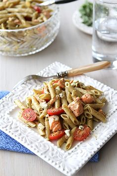 Whole Wheat Pasta Salad Recipe with Salmon, Tomatoes & Herb Dressing for a Half-Marathon