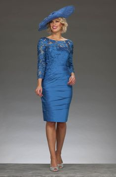This short fitted dress has a wide high neckline and has a laser cut floral design throughout the top of the dress and the sleeves. It features a v back design and is slightly ruched throughout the body. Mother Of Bride Outfits, Mother Of Groom Dresses, Mother Of The Bride, Bride Dresses, Mothers Dresses, Short Fitted Dress, Mom Dress, Groom Outfit, Special Occasion Dresses