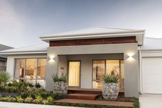 Explore our range of award winning home designs here. Choose your dream home design now with Dale Alcock. House Front, My House, Home Room Design, House Design, Front Verandah, Modern Front Yard, Display Homes, Facade Design, New Home Designs