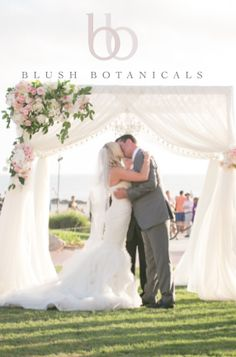 Blush Botanicals wedding at Hotel Del Coronado.  Pink and glamorous wedding.  Ivory wedding canopy structure.  Beach wedding with Luxe Events.  Photography by She Wanders